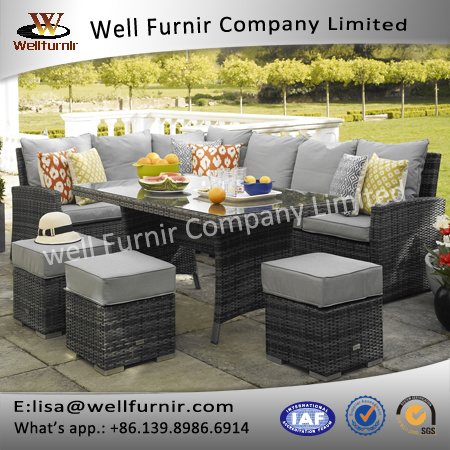 Well Furnir T-043 Corner Sofa Dining Table Rattan Garden Set