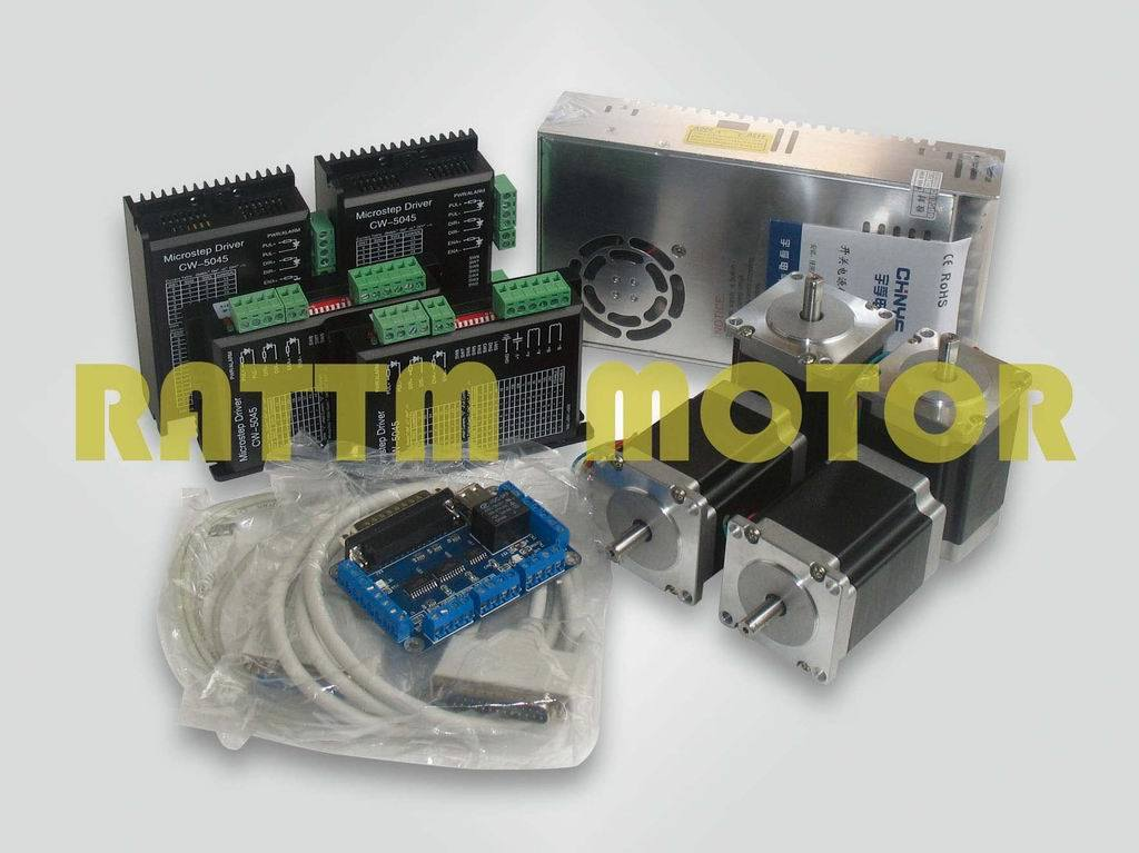 China 4 axis cnc controller kit 4 nema23 270 oz in stepper 4 axis stepper motor controller