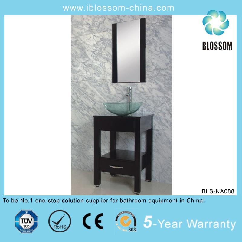 MDF Body Ceramic Basin Silver Mirror Bathroom Vanity (BLS-NA088)