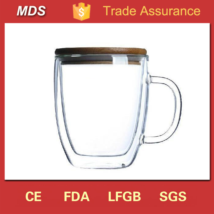 Double Walled Glass Coffee Cups Glassware with Bamboo Lid and Handle