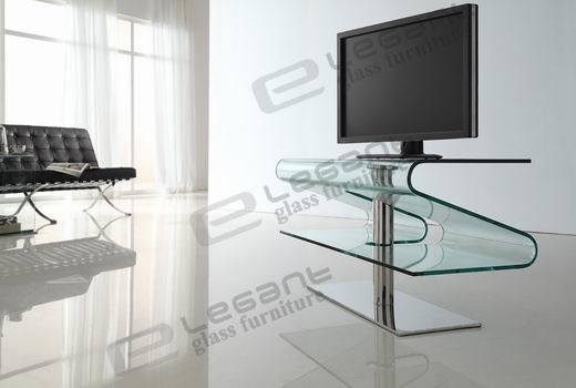 Modern Curved Glass TV Stand and TV Cabinet (T038)