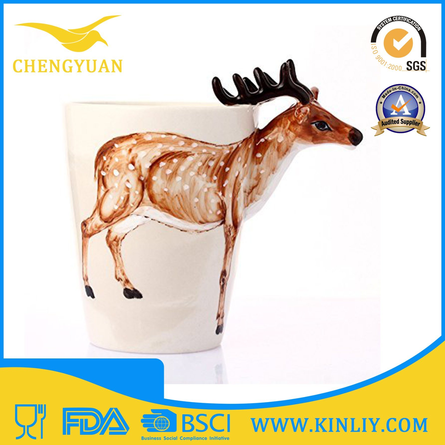 3D Animal Ceramic Tea Cup Funny Coffee Mug for Gift