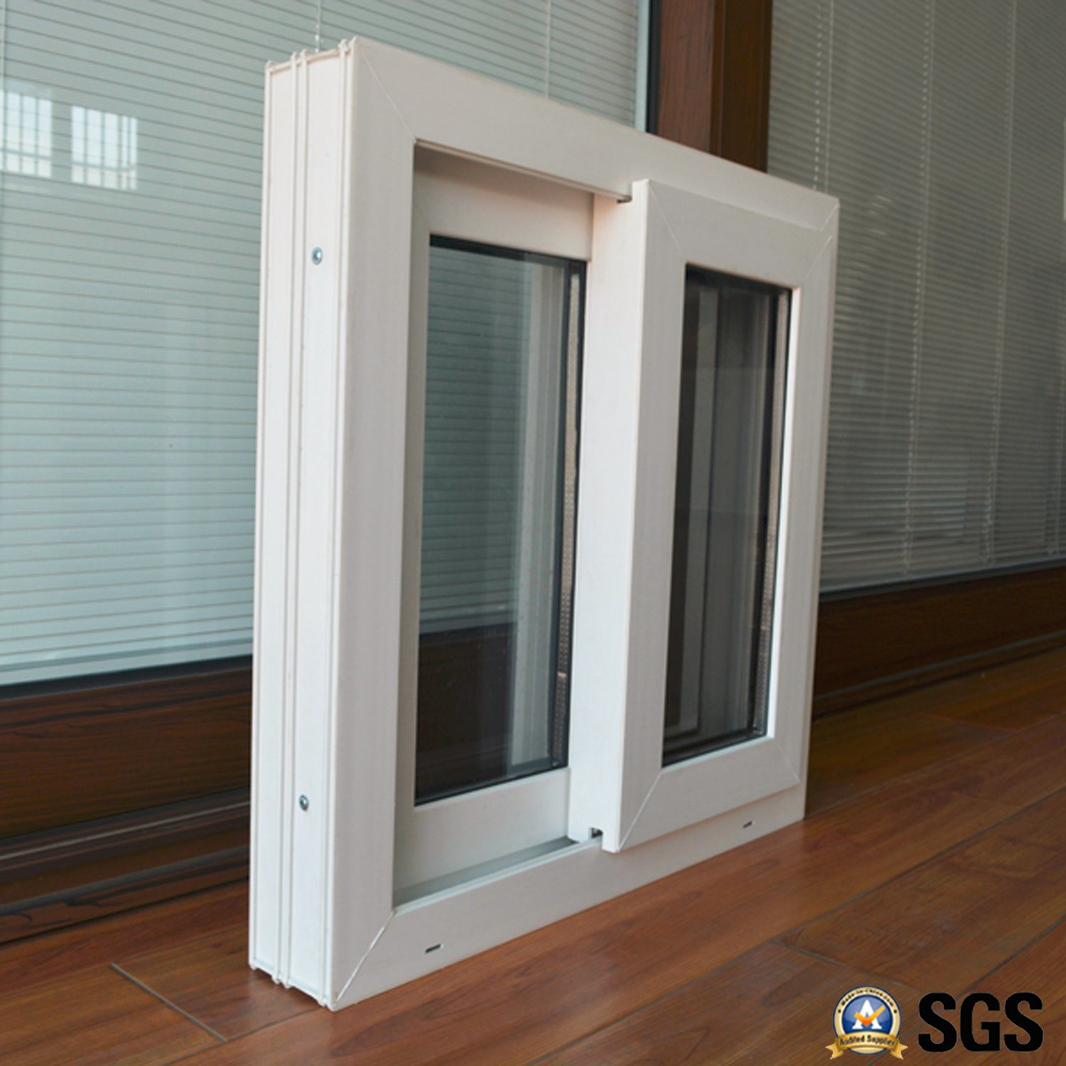 White Colour UPVC Profile Sliding Window with Mosquito Net K02050