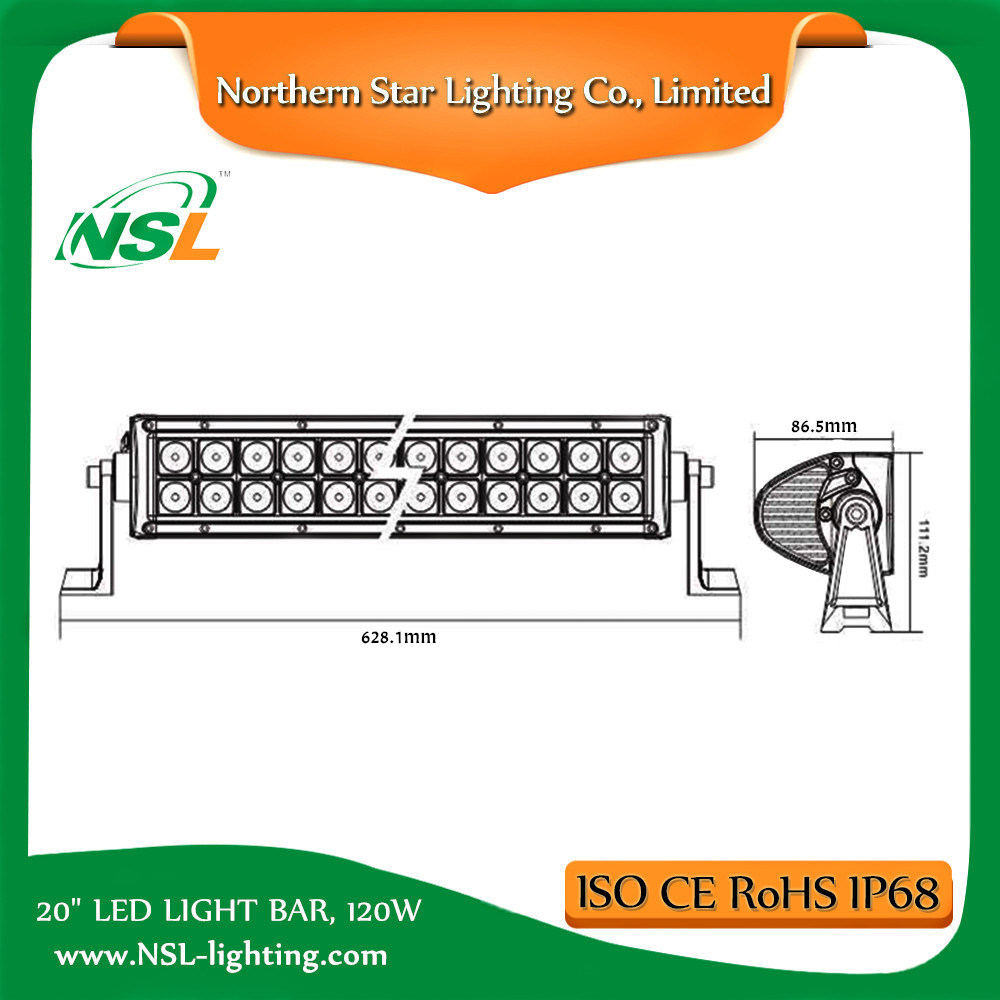 20 Inch 120W Double Row LED Light Bar for ATV Truck off Road Driving with 3 Years Warranty