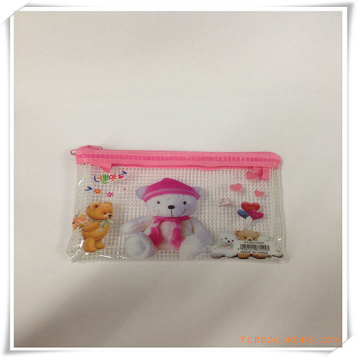 Bear Cartoon Mesh and PVC Zipper Pencil Bag/Case for Promotion