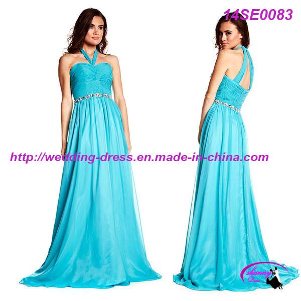 Turquoise Chiffon Halter Prom Dress with Beading Belt