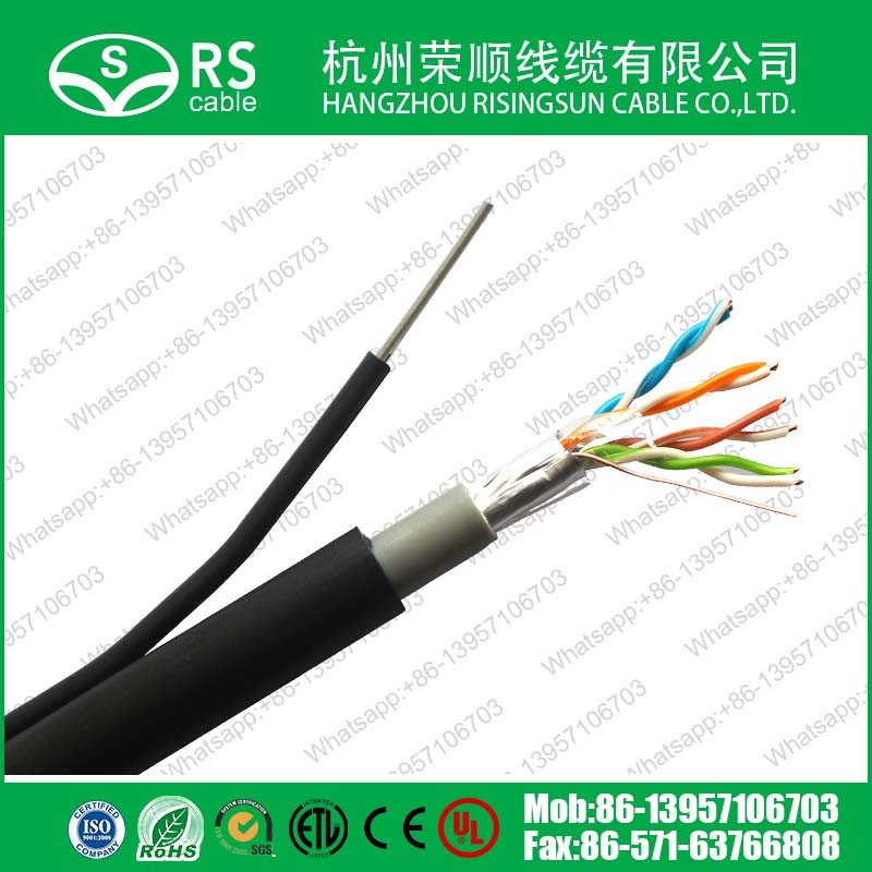 Cat5e FTP Outdoor Bulk Ethernet Dual Cable Aerial with Messenger