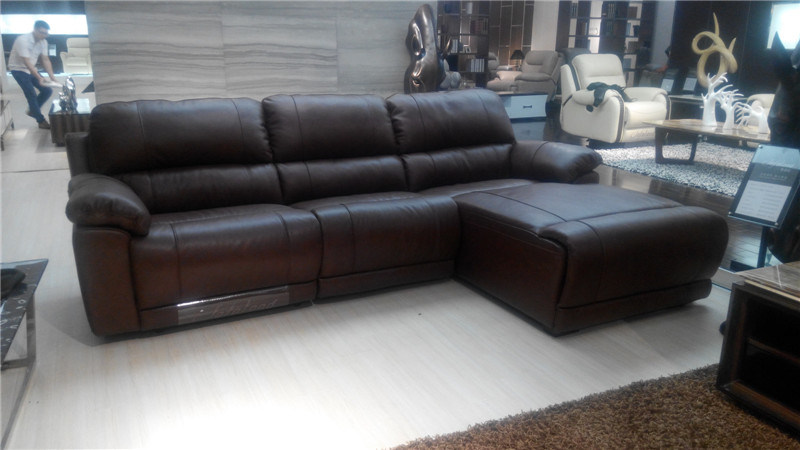 Brown Color L Shape Leather Recliner Sofas Sets
