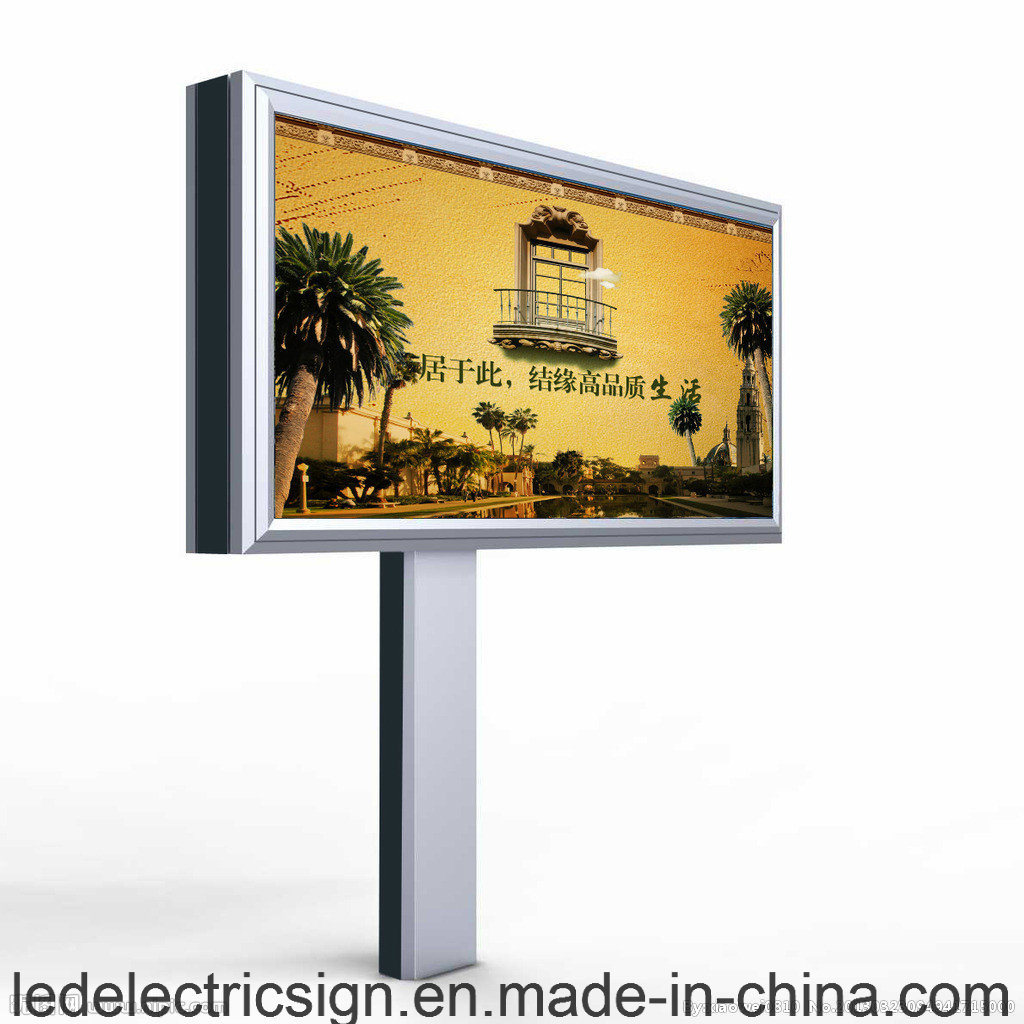 LED Double Face Light Box Advertising Display in Highway with Pole Free Standing