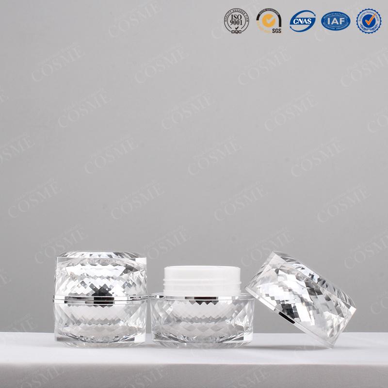 30g 50g High Quality Luxury Fancy Silver Plastic Acrylic Cosmetic Cream Jar