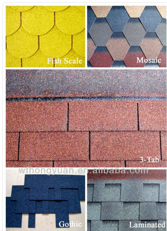 Popular Colorful Fiberglass Roof Tile / Bitumen Shingles