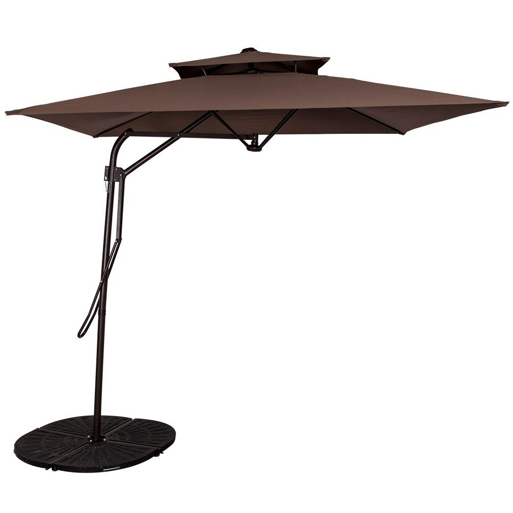 Garden 8.2X8.2 FT Rectangular Offset Umbrella with Hand Push, 4 Steel Ribs (Coffee)
