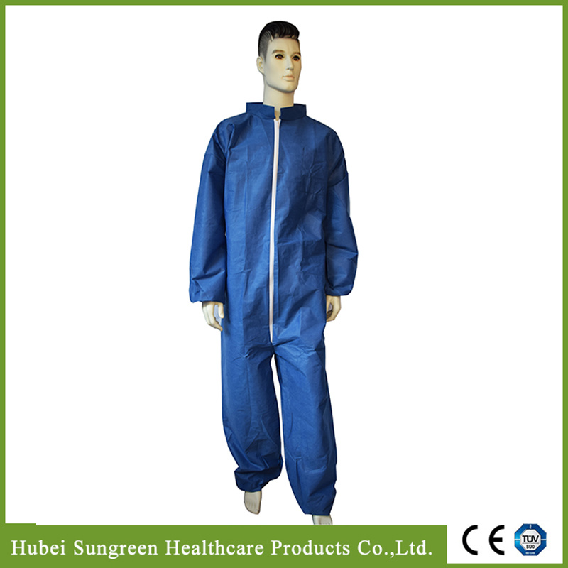 Disposable Dark Blue SMS Non-Woven Coverall, Safety Coverall, Disposable Coverall