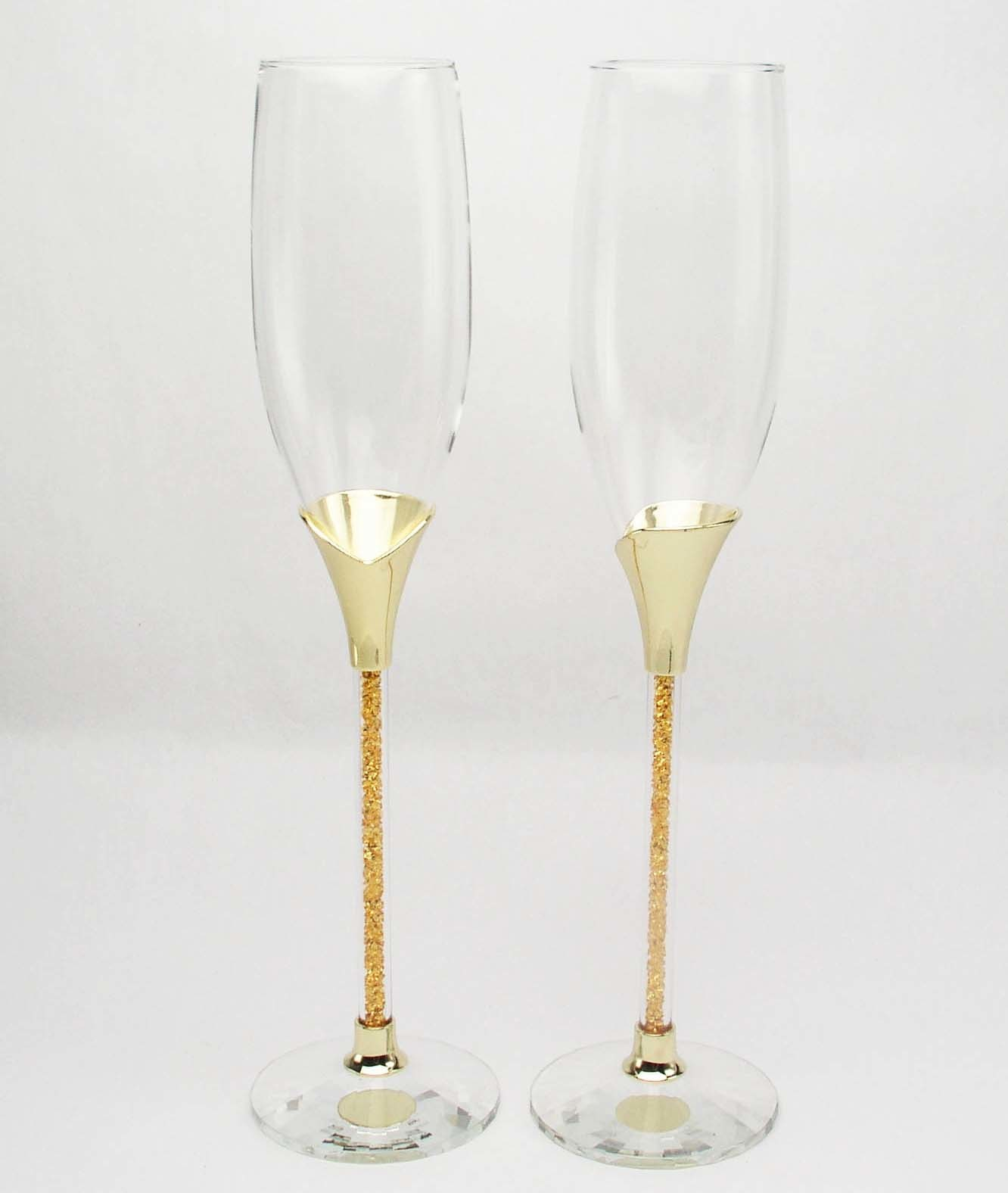Gold Light Texture Crystal K9 Toasting Wedding Flute Goblet Wine Goblet