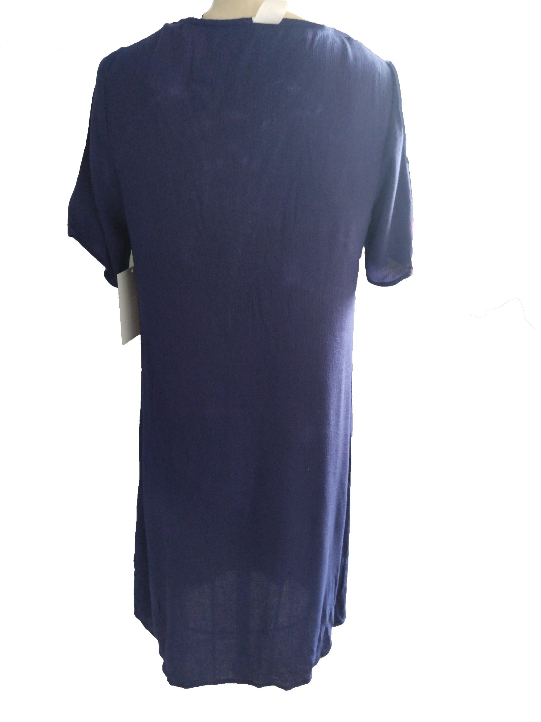 Summer Folk Style Blue Fashion Round Neck Charming Ladies Dress