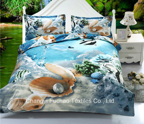 Polyester Fabric 3D Printed 4 Pieces Bedsheet/Bedding Sets/Microfiber Duvet