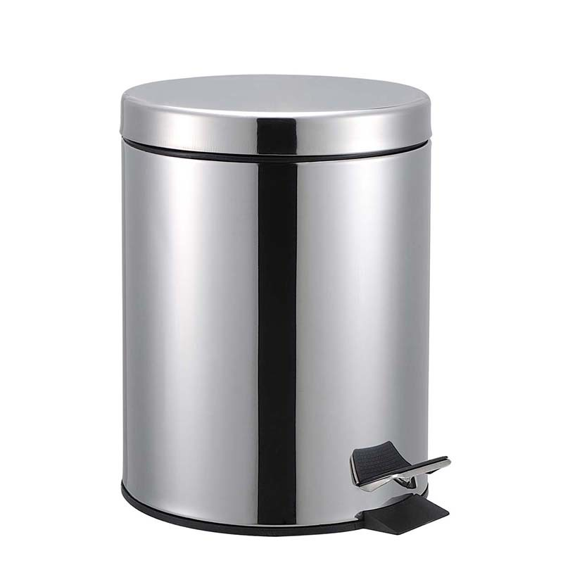 Fireproof Round 12L Polished Foot Pedal Stainless Steel Waste Bin