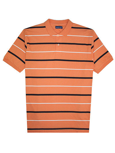 Big Size Cotton Lycra Jersey Striped Man′s Polo Shirt of V-Neck