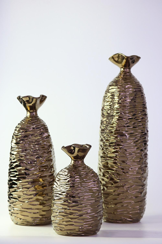 Hand Carved Gold Glaze Ceramic Craft Vase Ornaments
