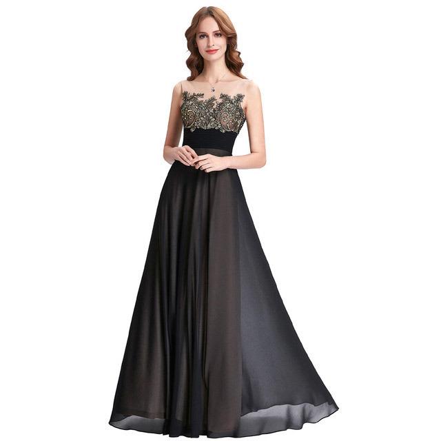 Black Basic Style Chiffon Dress