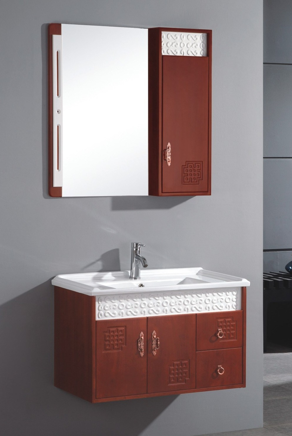 China Wall Mounted Single Sink Wooden Bathrooom Vanity Cabinet S6098 China Bathroom Vanity