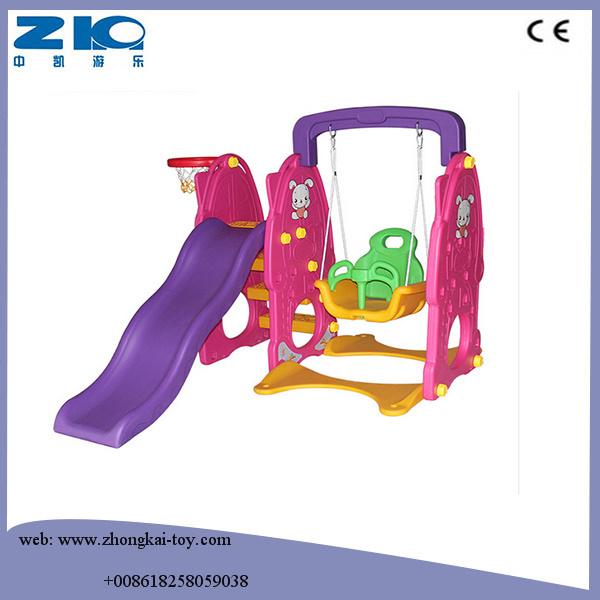 China Indoor Playground Kids Plastic Slide and Swing Set