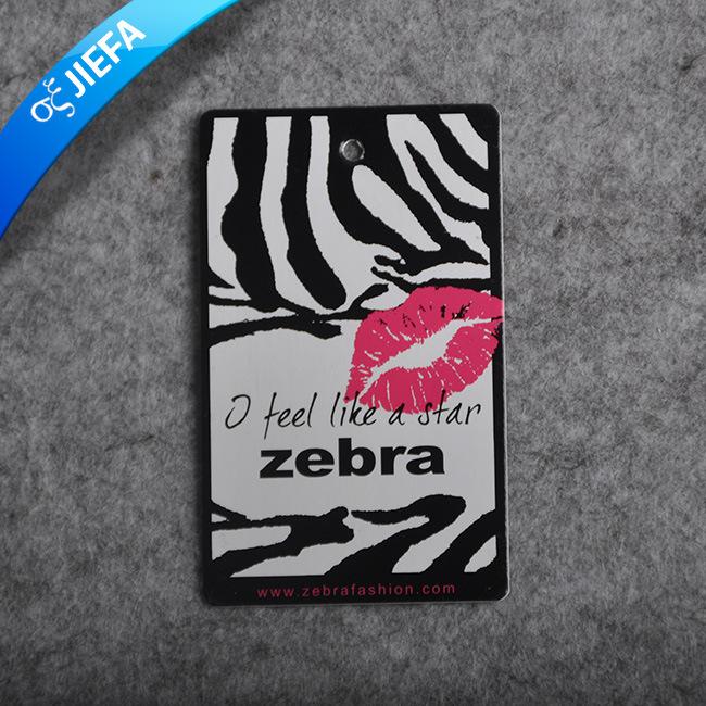 Custom Brand Name Zebra Print Jeans Paper Hangtag