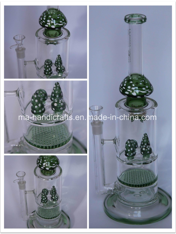 Green Mushroom Smoking Water Pipes with Honey Comb Percs