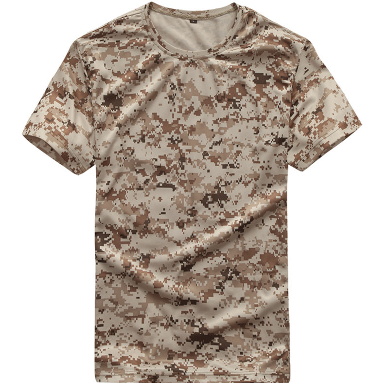 Outdoor Short Sleeves Breathable Wear-Resisting Commandos Slim Camouflage T Shirt