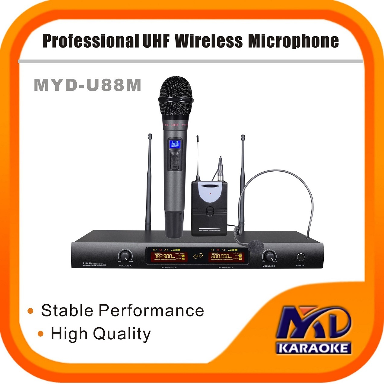 High Quality Sound UHF LCD Dual Channel Wireless Microphone
