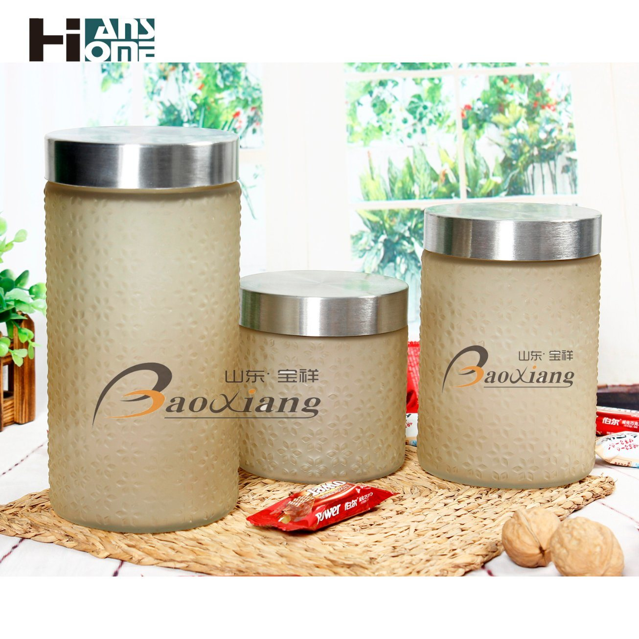 Factory Color or No Color Food Cookie Storage Glass Jar with Stainless Steel Lid or Beautiful Lid