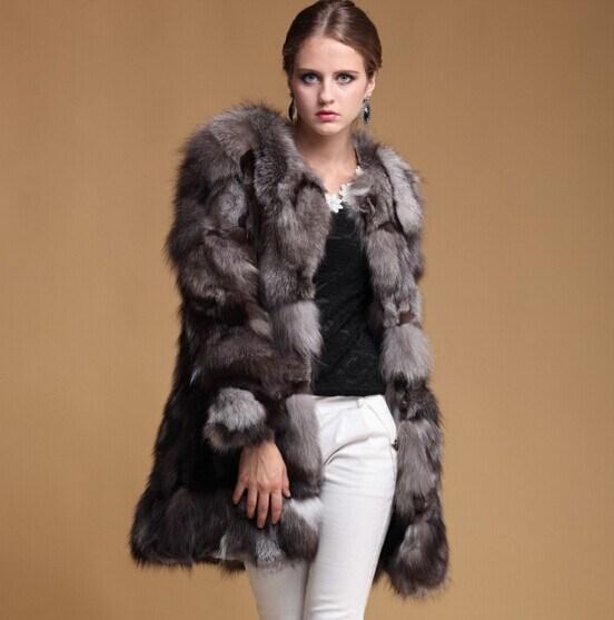 Brand New 2014 Winter Women Real Genuine Silver Fox Fur Coats Jackets Natural Fashion Women′s Fur Overcoats Outerwear Plus Size