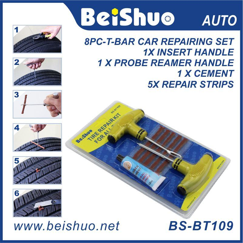 Car Bike Tubeless Flat Tire Repair Tools Kit with Plugs