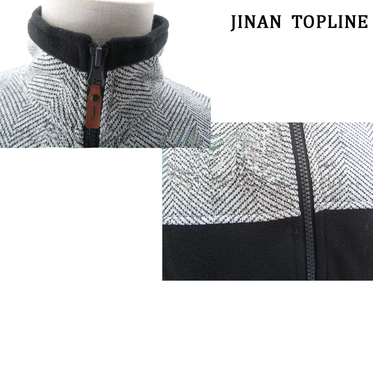 Men Herringbone Micro Fleece Leisure Jacket