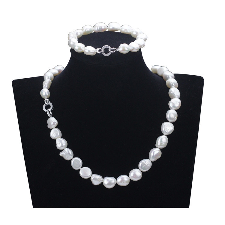 Snh 10mm AA Grade White 925 Sterling Silver Real Pearl Set Jewelry