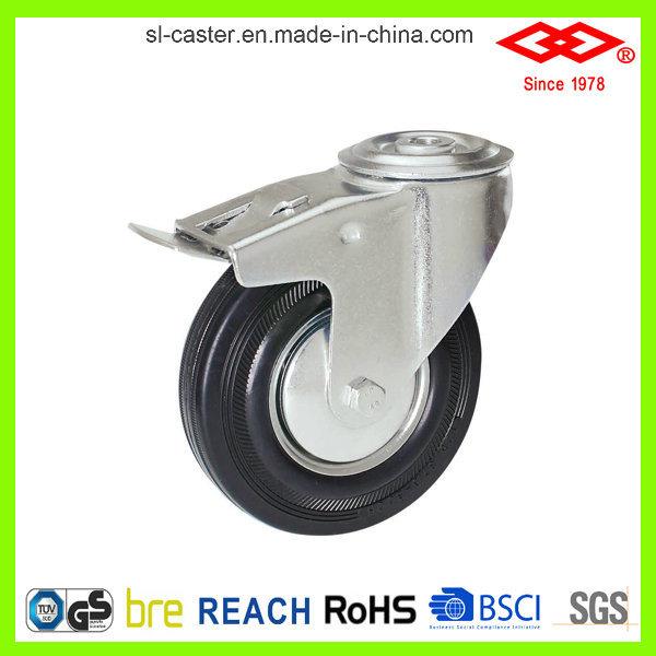 Industrial Swivel Plate Black Rubber Caster (P102-11D080X25S)