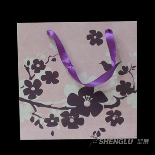 Printed Flower Design Gift Paper Shopping Bag (P09)