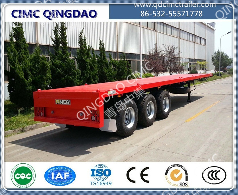 Cimc 40FT 2/3/4 Axle Flatbed Platmorm Flatbed Semi Truck Trailer Chassis
