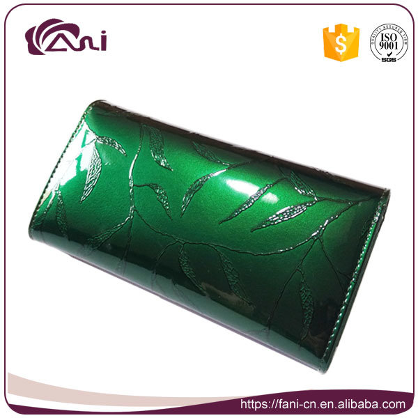 New Design Modern Wallet, Long Embossed Money Bag, Green Leather Lady Purse with High Quality