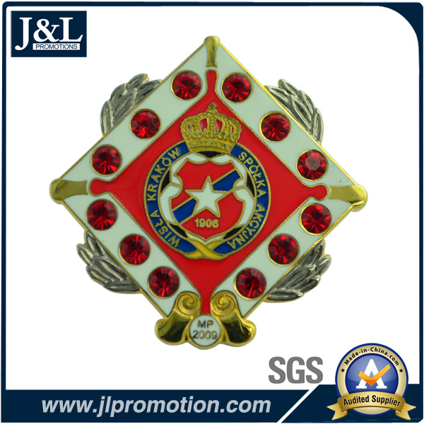 Die Struck Semi-Cloisonne Lapel Pin with Stones
