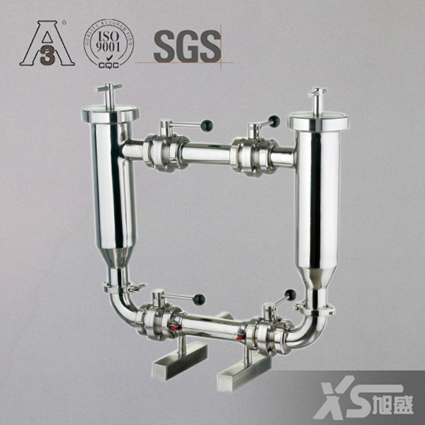 Dn80 Ss304 Stainless Steel Sanitary Food Grade Milk Angle Type Filter Strainer