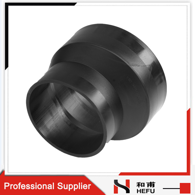 Black HDPE Material Plastic Water Pipe Fittings Eccentric Reducer