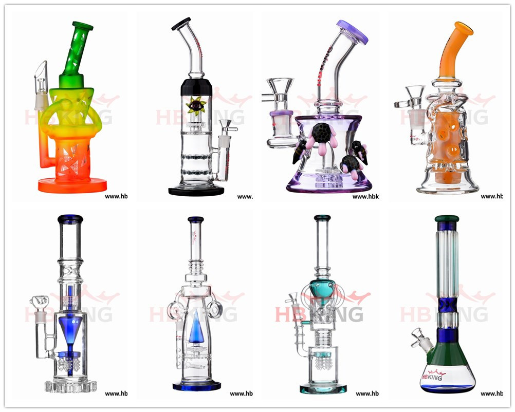 Hbking China Wholesale Oil DAB Rig Recyclers Glass Water Pipe, Manufacture Big and Thick Glass Smoking Pipe in Stock