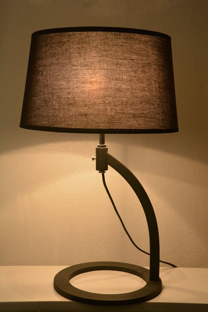 3years Warranty Metal Black Bedside Modern Desk Table Lamp Light in Fabric Shade, Height Can Be Adjustable