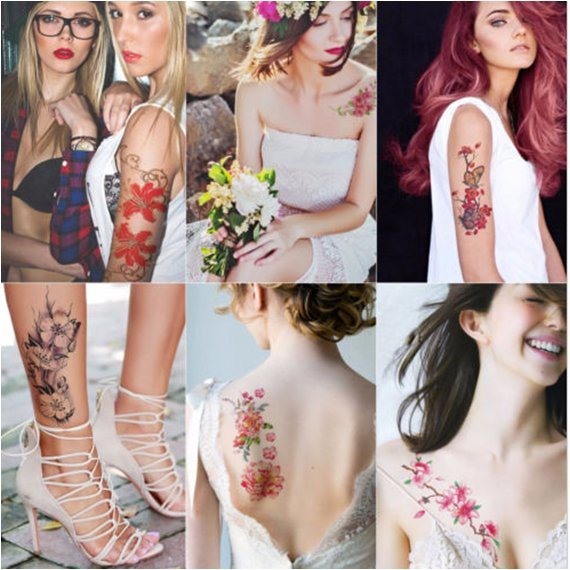 fashion Sexy Flower Temporary Tattoo Stickers Art Tattoo Sticker