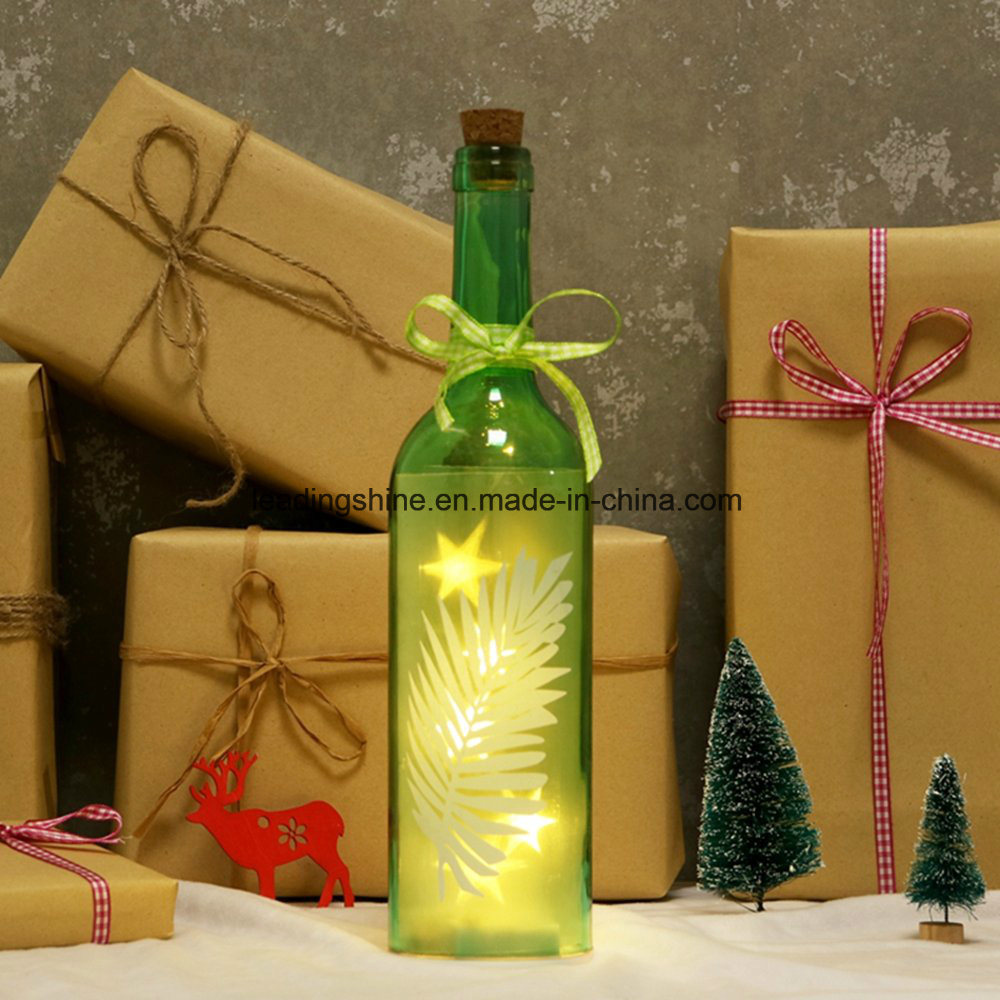 Leaf Starlight Wine Bottle LED Light Christmas Home out Door Decoration Gift