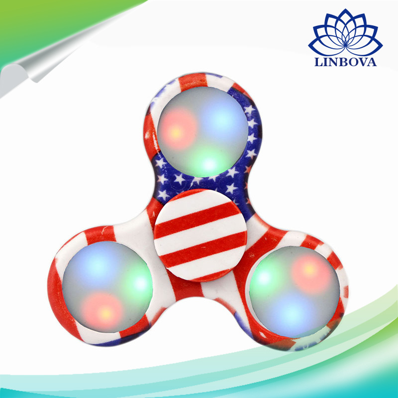 Camouflage LED Light Hand Gift Toy Finger Fidget Mini Spinner with Retail Box