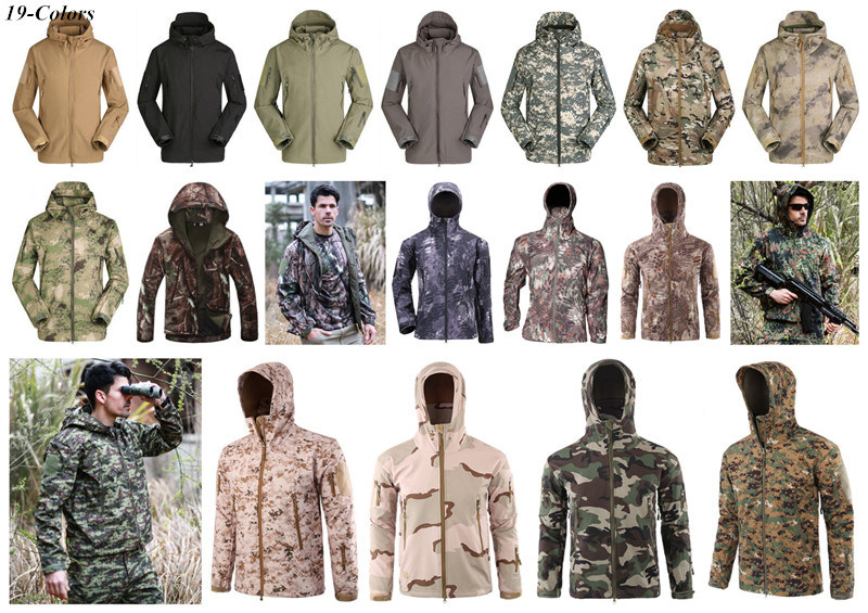 19-Colors Camo Hoodie Army Uniform Hunting Softshell Waterproof Military Jacket