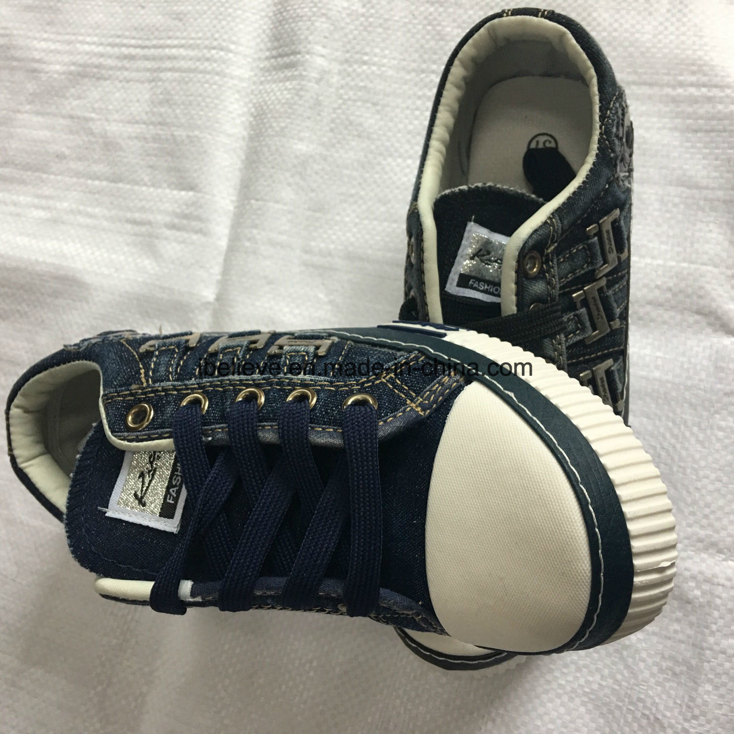 Wash Denim Shoe with PVC Outsole of New Design.