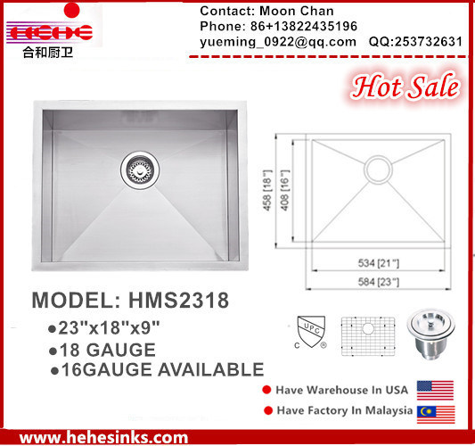 stainless Steel Handmade Square Sink for Kitchen with Cupc Cetificated